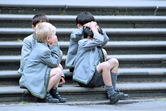 schoolboys on museum steps (Brenda Malloy) Tags: uk england london fieldtrip brenda malloy horseplay havingalaugh canon450 diogenes24