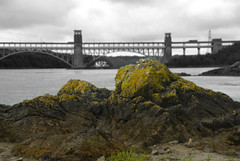 Picture At Bridge Rock (Chris Noble Photography) Tags: bridge seascape monochrome landscape creativity misc landmarks places manmade selectivecolour anglesey northwales menaibridge britanniabridge riverscene photogenre