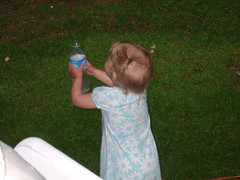 Evie catching water