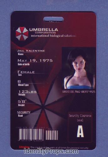 Umbrella Corporation Jill Valentine ID Card