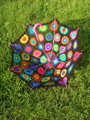 Crochet Umbrella - Granny Square Parasol And Embellished Rainbow Crochet Top (babukatorium) Tags: pink flowers blue red summer orange black color green art wool fashion yellow umbrella circle rainbow funny colorful purple handmade top turquoise burgundy oneofakind crochet moda violet style tshirt shades cotton parasol blonde gradient romantic hippie psychedelic arcobaleno tulle multicolor striped whimsical ombrello darkblue haken asymmetric hkeln emeraldgreen croch grannysquares ganchillo fuxia uncinetto cotone fattoamano  tii horgolt babukatorium