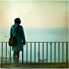 Miriam y el mar (una cierta mirada) Tags: barcelona blue sea woman seascape azul square landscape mediterranean miriam mediterrneo