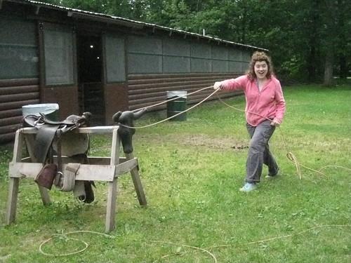 roping a steer!
