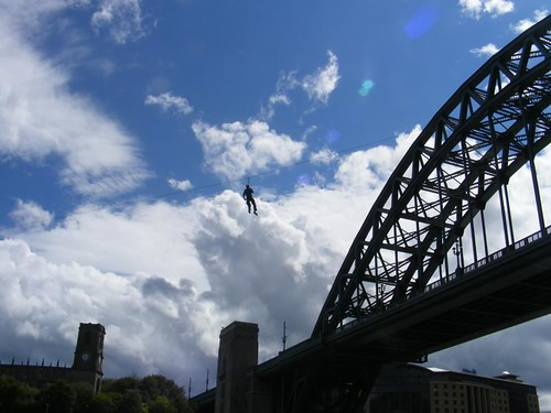 Zip-lining off the Tyne Bridge