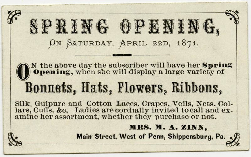 Spring Opening, Bonnets, Hats, Flower, Ribbons, April 22, 1871