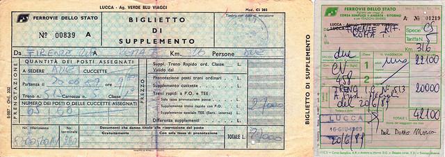 Biglietto ETR450 anni 80