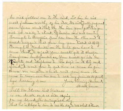 Frank James letter to Anna James, 1884  (2 of 5)