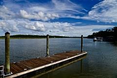 Dock in Beaufort - South Carolina (Meridith112) Tags: carolinas southcarolina south beaufort beaufortcounty dock pier water river batterycreek creek bluesky sky clouds cloud wood nikon nikon2485 nikond610 summer august 2016 boat marsh