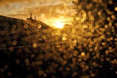 Lost in the bokeh (Pog's pix) Tags: bokeh flare intothelight intothesun sunset bright sparkling rooftops chimneys scotland colourful raining raindrops window campbeltown kintyre creative golden natural weather evening lost sky clouds light houses roofs