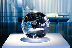 Corning 3 (Kara V. Baird) Tags: galaxy orb glass ball sphere scultpture corning museum glassblowing blue reflection