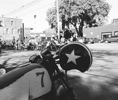 7 (Georgie_grrl) Tags: distinguishedgentlemansride motorcycles bikers riders fundraiser charityride dapper dressedtoimpress friends blackandwhite monochrome andalotofchrome jchstreetpan400 morningmeetup toronto ontario pentaxk1000 rikenon12828mm 7 helmet motorcycle star