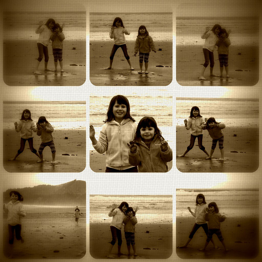 being silly on the beach