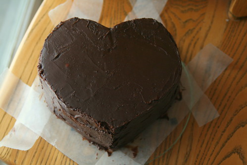 Heart cake crumb coat by chrissthegirl, on Flickr