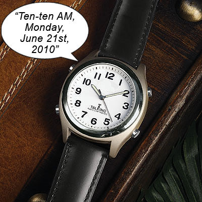 Atomic Talking Watch with Leather Band