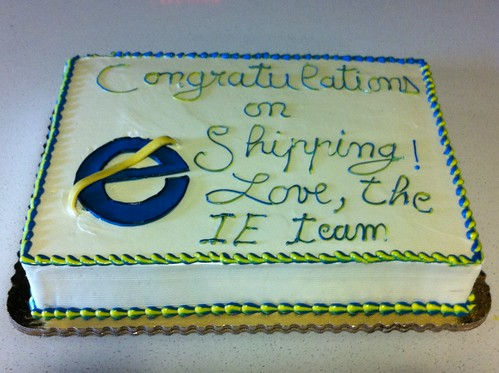 Congratulatory Firefox 4 cake from Internet Explorer