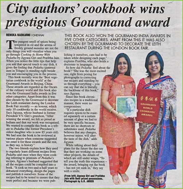 Deccan Chronicle features Gourmand Awards won by our vegetarian cookbook