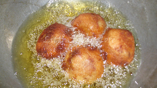 Bread rolls during frying pan