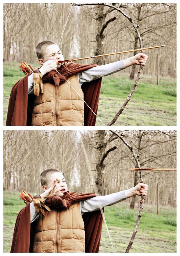 Levi shooting arrow