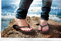 Coexist: A flip flop day by the sea! (pixelmama) Tags: california texture rachel bokeh pacificocean flipflops thesea scavengerhunt gettyimages pointloma coexist hbm cabrillonationalmonument hcs pinktoenails fakeframe benchmonday clichesaturday pixelmama fakephotoeffects