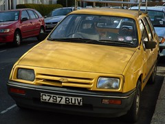 1985 Ford Sierra 1.6 Base Estate. (bramm77) Tags: london ford yellow estate sierra retro 80s british 16 1985 banger base bt telecom rwd emax c797buv