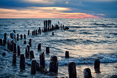 Sunrise, Icy Pilings & Tears (pixelmama) Tags: cold ice sunrise freezing lakemichigan gettyimages brokenlens evanstonillinois manytears chasinglight icypilings evenmoretears rantrage
