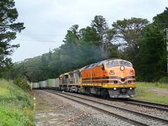 looking shiny in orange (sth475) Tags: railroad summer wet rural train clyde diesel railway loco australia bulldog container rainy nsw locomotive showers ge edi freight coveredwagon streamliner 6006 wingello emd intermodal mka mainsouth ugl ldpclass clfclass clf4 cabunit superfreighter gt46cace shortsouth 6000class ldp005 at26c2m c43aci
