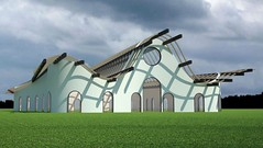 Freeform roof structure view