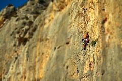Anacreonte - Kalymnos (Lenuge/ Dave Bateman) Tags: vertical island aegean greece climbing bolt limestone rockclimbing poets kalymnos tiltshift sportclimbing kalymnosisland wwwdavebatemanphotocom anacreonte greekclimbing fixedhanger boltedclimbing tiltshiftclimbingimage poetssector