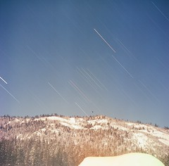 (RingerPhotography) Tags: longexposure trees sky snow mountains stars lomo lubitel nightexposure blueanalogexpiredfilmsquare120mm
