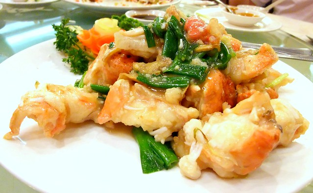 Stir Fried Alaskan King Crab with Ginger and Spring Onion