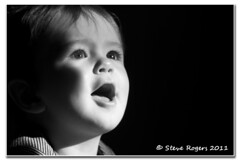 I AM AMAZED (Gadget333) Tags: boy blackandwhite baby cute happy mono sing 1yearold amazed pleased d300 nikkor105mmf28vr