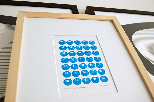 Thirty-Five Blueberries - block print