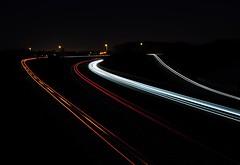 Light trails of cars (NightSnapper) Tags: night dark nightshot traffic motorway dusk nighttime nightphoto dim northeast carlights dull nightpicture southbound traffictrails poorlight nighttraffic a19 motorwaytraffic carlighttrails nikond5000 nightsnapper carlighttrailsatnight