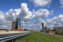 Two Towers (Frenklin) Tags: city blue sky holland building tower netherlands dutch architecture modern clouds hoorn canon highway blauw cityscape traffic toren den nederland thenetherlands wolken bluesky gas april dominique organic uitzicht groningen lucht corpus blauwe hdr a7 1740 liberte stad architectuur alberts perrault snelweg dominiqueperrault verkeer hoofdkantoor woontoren 2011 apenrots gasunie patrimonium wegderverenigdenaties 50d organisch stadsgezicht oving architecten residentialtower aperots woontorens unie laliberte architectenbureau julianaplein huut gasuniegebouw corpusdenhoorn ovingarchitecten vrijheidsplein april2011 dominiqueperraultarchitecture geveke hoofdkantoorgasunie architectenbureaualbertsenvanhuut albertsenvanhuutarchitecten ovingarchitekten