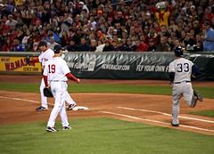 psh, it's an out, whatever (Boston Wolverine) Tags: boston out baseball redsox run fenway pitcher yankees mlb nickswisher firstbase 70300mmf456 adriangonzalez joshbeckett firstbaseman infielder