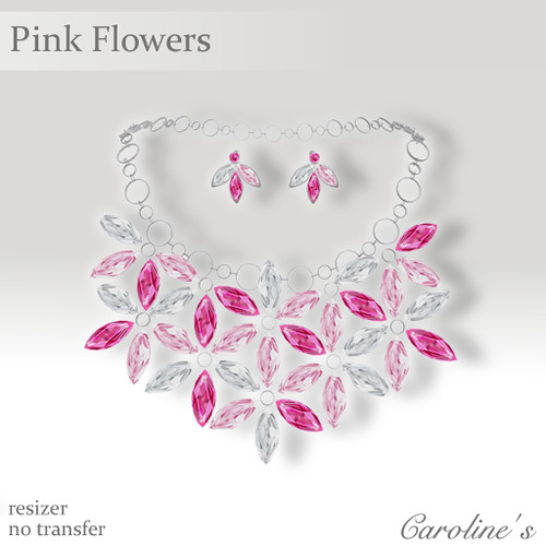 Caroline's Jewelry Pink Flowers Set