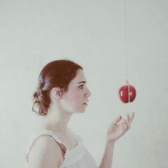 Week 16  the sacrifice and the sin (Ana Lusa Pinto [Luminous Photography]) Tags: pink red white selfportrait texture apple girl project easter square soft sin hanging 16 goodfriday 1652 week16 52weeks