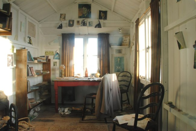 inside the writer's hut