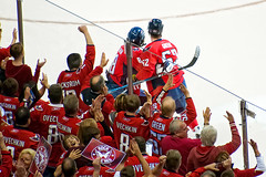 Green, Ovechkin and Fans (clydeorama) Tags: usa newyork green ice hockey nhl washingtondc dc washington goal caps icehockey center playoffs fans score celebrate rangers verizon capitals ovechkin nationalhockeyleague verizoncenter rockthered