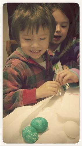 J n B coloring eggs!