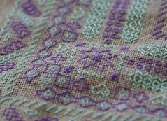 Blackwork, Detail (K-lonig) Tags: green purple handmade linen embroidery violet vert lin blackwork broderie faitmain