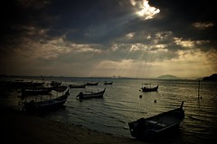God's Light !!! (ChR!s H@rR!0t) Tags: light sea sun love sunrise boats hope sand god malaysia penang sampan