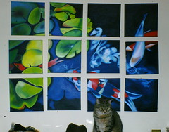 Still life with Mavis and a gaggle of (painted) koi