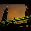 TAIWAN - Taipei 101 Shinyi (Gamy Wong (ASQUALL)) Tags: sunset urban skyscraper evening asia neon taiwan silhouettes cinemas skybridge citylights brightlights taipei101 shinyi warnervillage vieshow extraordinarymoments