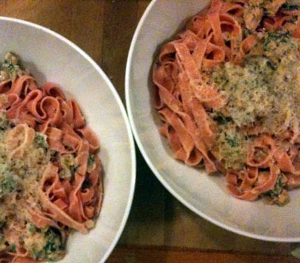 Beet pasta with Salmon, Vodka, Dill Cream sauce