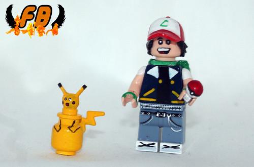 Custom minifig Ash and Pikachu