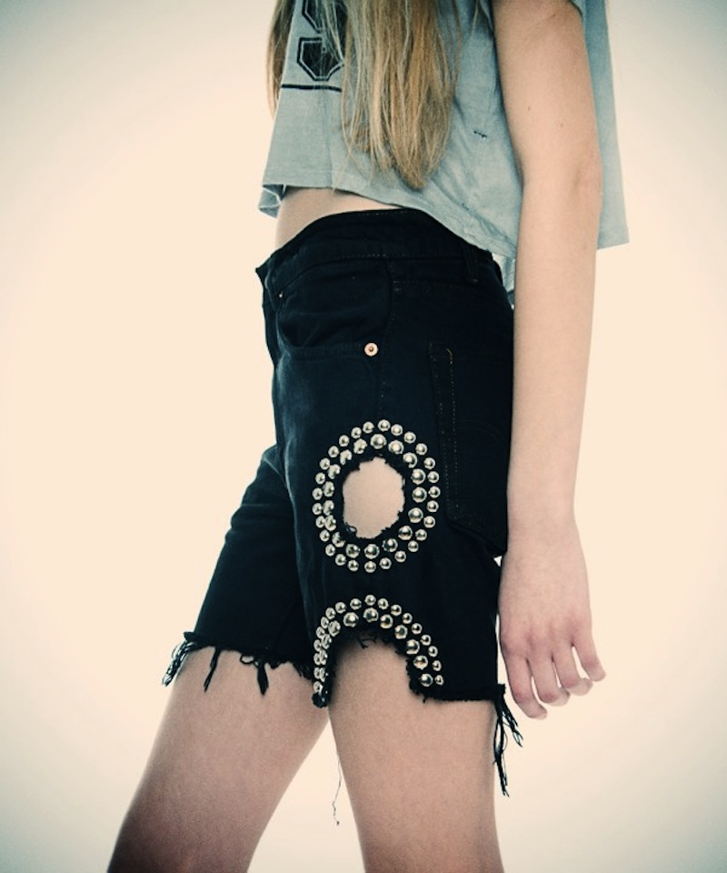 OBESITY AND SPEED  DENIM STUDDED SHORTS WITH CUTOUT CIRCLES 4.jpg_effected-001