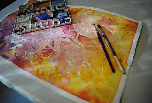 dappled sunlight on artwork