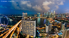 Singapore Marina Bay :: Wide! (DanielKHC) Tags: blue light tower night clouds digital marina 1 bay nikon singapore long exposure cityscape dusk fisheye explore hour cbd sands dri hdr mbs blending d300 millenia nikkor105mmf28 danielcheong danielkhc