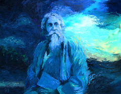 Rabindranath Tagore: 150th Birth Anniversary 1861-2011 (Shubnum Gill) Tags: life birthday blue portrait musician music woman india color colour art digital painting freedom eyes women asia acrylic poem drawing expression gorgeous delhi indian canvas painter poet oil writer plays imperialism gill bengal bangladesh feminist bangla bharat newdelhi sangeet progressive statesman shantiniketan playwright southasia tagore centenary rabindranath rabindra fluidity rabindranathtagore thakur nobellaureate 150years gitanjali educationist dramatist shubnum freedomstruggle shubnumgill shubnamgill 18612011